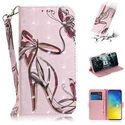 Butterfly High Heels 3D Painted Leather Wallet Phone Case for Samsung Galaxy S10e (5.8 inch)