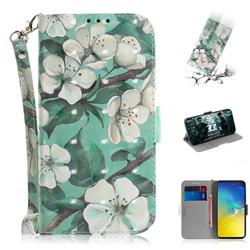 Watercolor Flower 3D Painted Leather Wallet Phone Case for Samsung Galaxy S10e (5.8 inch)