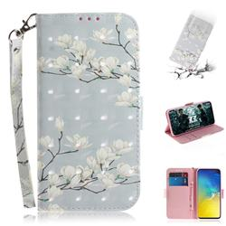 Magnolia Flower 3D Painted Leather Wallet Phone Case for Samsung Galaxy S10e (5.8 inch)