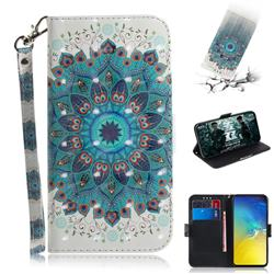Peacock Mandala 3D Painted Leather Wallet Phone Case for Samsung Galaxy S10e (5.8 inch)
