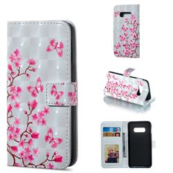 Butterfly Sakura Flower 3D Painted Leather Phone Wallet Case for Samsung Galaxy S10e (5.8 inch)