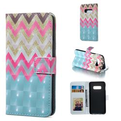 Color Wave 3D Painted Leather Phone Wallet Case for Samsung Galaxy S10e (5.8 inch)