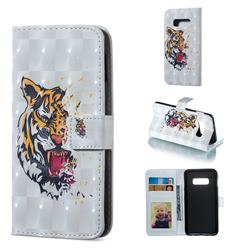 Toothed Tiger 3D Painted Leather Phone Wallet Case for Samsung Galaxy S10e (5.8 inch)