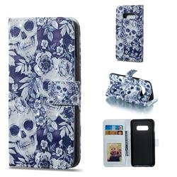 Skull Flower 3D Painted Leather Phone Wallet Case for Samsung Galaxy S10e (5.8 inch)