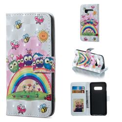 Rainbow Owl Family 3D Painted Leather Phone Wallet Case for Samsung Galaxy S10e (5.8 inch)