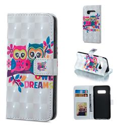Couple Owl 3D Painted Leather Phone Wallet Case for Samsung Galaxy S10e (5.8 inch)