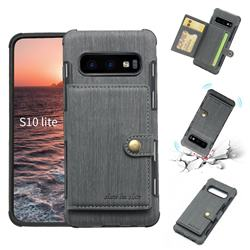 Brush Multi-function Leather Phone Case for Samsung Galaxy S10e (5.8 inch) - Gray
