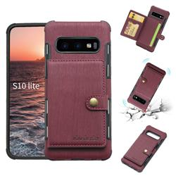 Brush Multi-function Leather Phone Case for Samsung Galaxy S10e (5.8 inch) - Wine Red