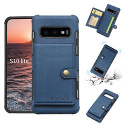 Brush Multi-function Leather Phone Case for Samsung Galaxy S10e (5.8 inch) - Blue
