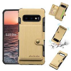 Brush Multi-function Leather Phone Case for Samsung Galaxy S10e (5.8 inch) - Golden
