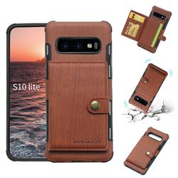 Brush Multi-function Leather Phone Case for Samsung Galaxy S10e (5.8 inch) - Brown