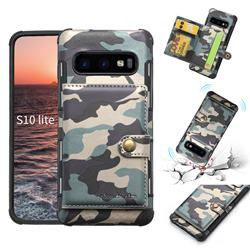 Camouflage Multi-function Leather Phone Case for Samsung Galaxy S10e (5.8 inch) - Gray
