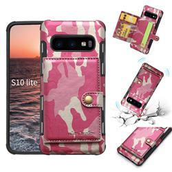 Camouflage Multi-function Leather Phone Case for Samsung Galaxy S10e (5.8 inch) - Rose