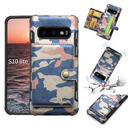 Camouflage Multi-function Leather Phone Case for Samsung Galaxy S10e (5.8 inch) - Blue