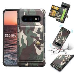 Camouflage Multi-function Leather Phone Case for Samsung Galaxy S10e (5.8 inch) - Army Green
