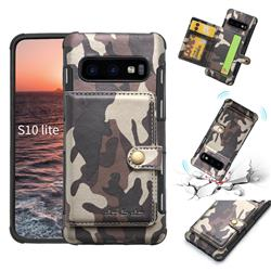 Camouflage Multi-function Leather Phone Case for Samsung Galaxy S10e (5.8 inch) - Coffee
