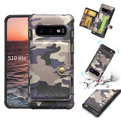 Camouflage Multi-function Leather Phone Case for Samsung Galaxy S10e (5.8 inch) - Purple