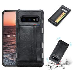 Luxury Shatter-resistant Leather Coated Card Phone Case for Samsung Galaxy S10e (5.8 inch) - Black