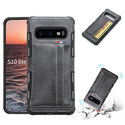 Luxury Shatter-resistant Leather Coated Card Phone Case for Samsung Galaxy S10e (5.8 inch) - Gray