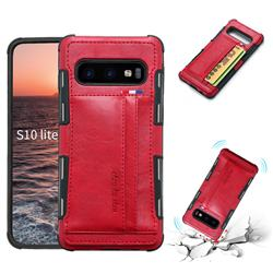 Luxury Shatter-resistant Leather Coated Card Phone Case for Samsung Galaxy S10e (5.8 inch) - Red