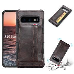 Luxury Shatter-resistant Leather Coated Card Phone Case for Samsung Galaxy S10e (5.8 inch) - Coffee