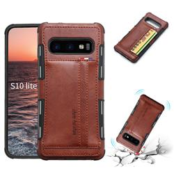 Luxury Shatter-resistant Leather Coated Card Phone Case for Samsung Galaxy S10e (5.8 inch) - Brown