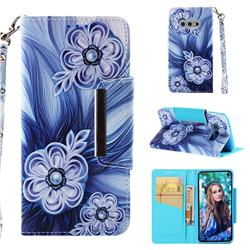 Button Flower Big Metal Buckle PU Leather Wallet Phone Case for Samsung Galaxy S10e (5.8 inch)