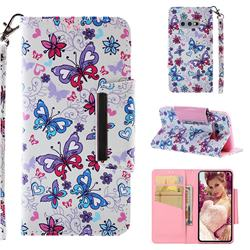 Colored Butterfly Big Metal Buckle PU Leather Wallet Phone Case for Samsung Galaxy S10e (5.8 inch)