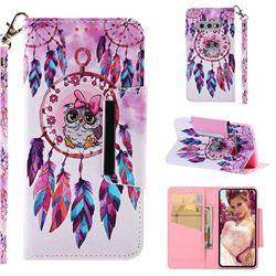 Owl Wind Chimes Big Metal Buckle PU Leather Wallet Phone Case for Samsung Galaxy S10e (5.8 inch)