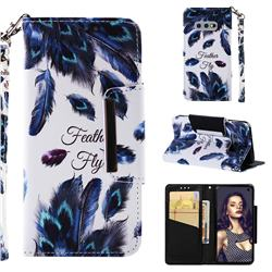 Peacock Feather Big Metal Buckle PU Leather Wallet Phone Case for Samsung Galaxy S10e (5.8 inch)