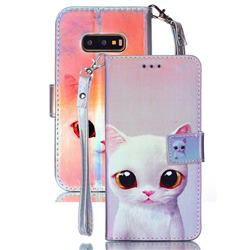 White Cat Blue Ray Light PU Leather Wallet Case for Samsung Galaxy S10e (5.8 inch)
