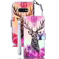 Deer Head Blue Ray Light PU Leather Wallet Case for Samsung Galaxy S10e (5.8 inch)