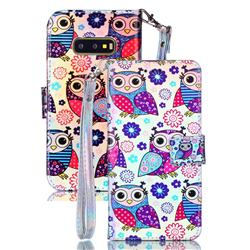 Happy Owl Blue Ray Light PU Leather Wallet Case for Samsung Galaxy S10e (5.8 inch)