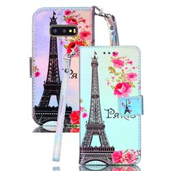 Eiffel Tower Blue Ray Light PU Leather Wallet Case for Samsung Galaxy S10e (5.8 inch)