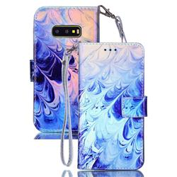 Blue Feather Blue Ray Light PU Leather Wallet Case for Samsung Galaxy S10e (5.8 inch)