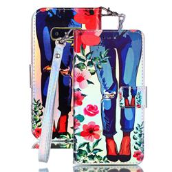 Jeans Flower Blue Ray Light PU Leather Wallet Case for Samsung Galaxy S10e (5.8 inch)