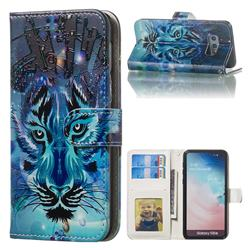 Ice Wolf 3D Relief Oil PU Leather Wallet Case for Samsung Galaxy S10e (5.8 inch)