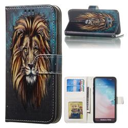 Ice Lion 3D Relief Oil PU Leather Wallet Case for Samsung Galaxy S10e (5.8 inch)