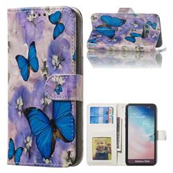Purple Flowers Butterfly 3D Relief Oil PU Leather Wallet Case for Samsung Galaxy S10e (5.8 inch)