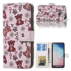 Cute Bear 3D Relief Oil PU Leather Wallet Case for Samsung Galaxy S10e (5.8 inch)
