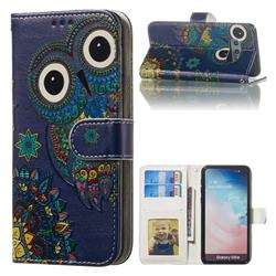 Folk Owl 3D Relief Oil PU Leather Wallet Case for Samsung Galaxy S10e (5.8 inch)