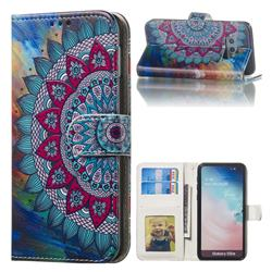 Mandala Flower 3D Relief Oil PU Leather Wallet Case for Samsung Galaxy S10e (5.8 inch)