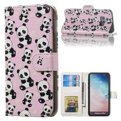 Cute Panda 3D Relief Oil PU Leather Wallet Case for Samsung Galaxy S10e (5.8 inch)