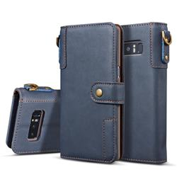 Retro Luxury Cowhide Leather Wallet Case for Samsung Galaxy S10e (5.8 inch) - Blue