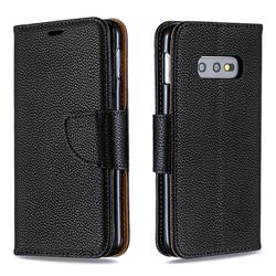 Classic Luxury Litchi Leather Phone Wallet Case for Samsung Galaxy S10e (5.8 inch) - Black
