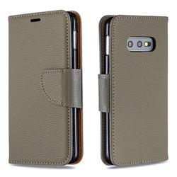 Classic Luxury Litchi Leather Phone Wallet Case for Samsung Galaxy S10e (5.8 inch) - Gray