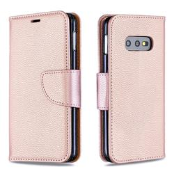 Classic Luxury Litchi Leather Phone Wallet Case for Samsung Galaxy S10e (5.8 inch) - Golden