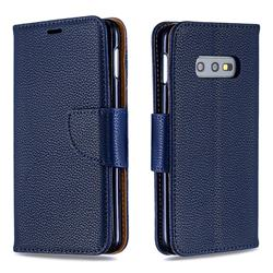 Classic Luxury Litchi Leather Phone Wallet Case for Samsung Galaxy S10e (5.8 inch) - Blue