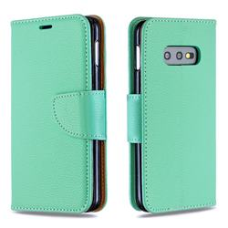 Classic Luxury Litchi Leather Phone Wallet Case for Samsung Galaxy S10e (5.8 inch) - Green