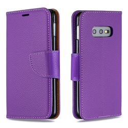 Classic Luxury Litchi Leather Phone Wallet Case for Samsung Galaxy S10e (5.8 inch) - Purple